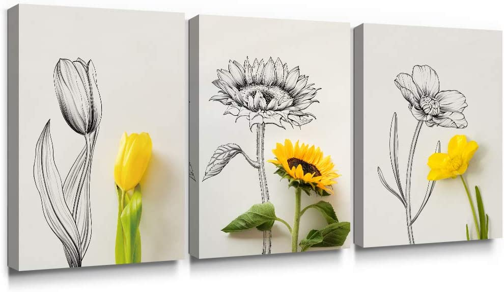 SUMGAR Canvas Wall Art Bedroom Floral Yellow Pictures Flower Gray Paintings Sunflower Grey Print Artwork 3 Piece,12x16 in