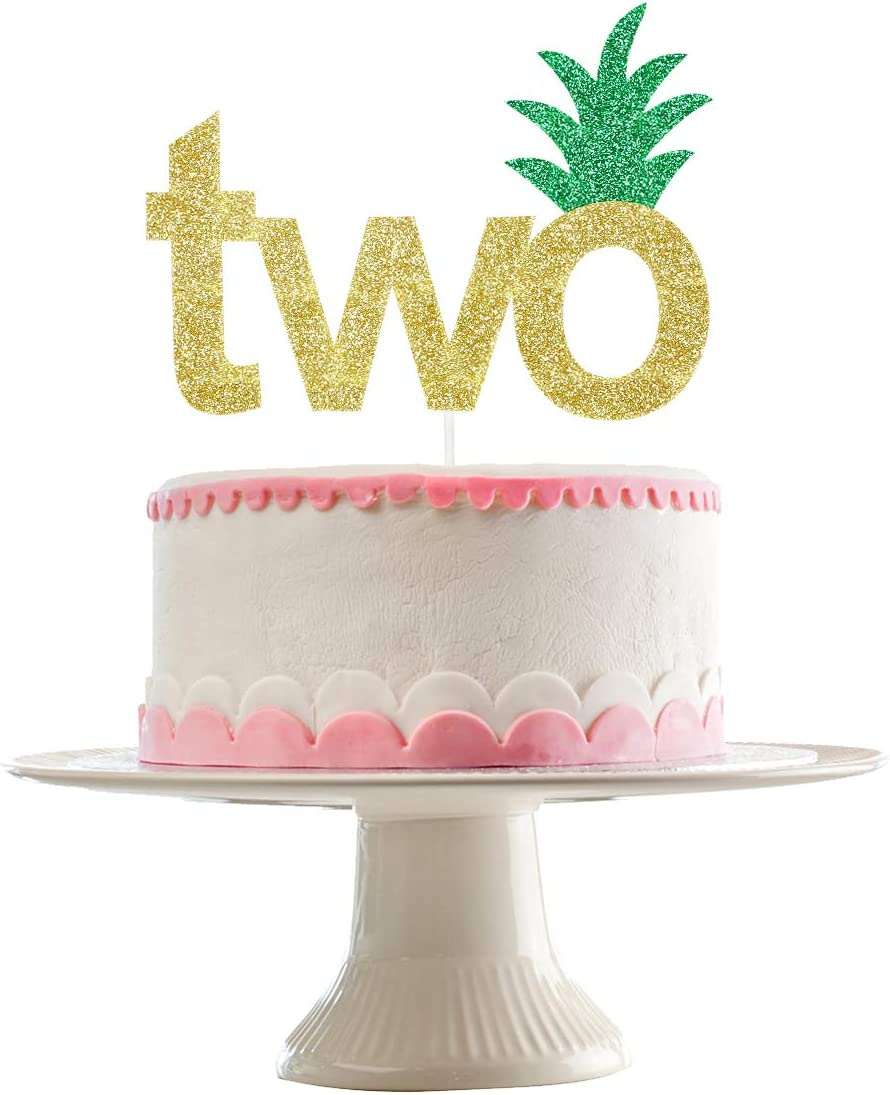 Amazon Com Gold Glittery Pineapple Two Cake Topper Hawaii 2nd Birthday Party Decorations 2nd Birthday Cake Decor Toys Games
