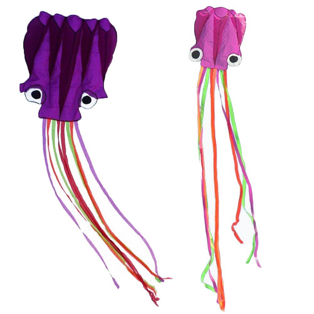 toymytoy 2pcs OctopusポータブルKite Toy for Kidsと子アウトドアゲームアクティビティwith 30 m Stringボード( Orangとパープル) B07C1C3S6Y