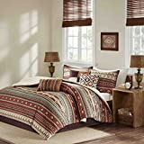7 Piece Red Brown Blue White Southwest Comforter Queen Set, Native American Southwestern Bedding, Horizontal Tribal Stripes Geometric Motifs Lodge, Indian Themed Pattern, Vibrant Western Colors