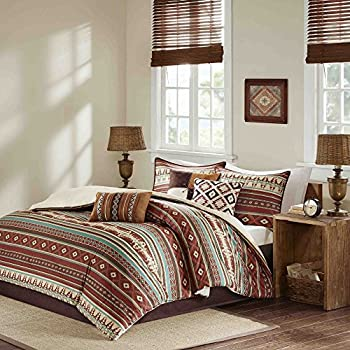 7 piece red brown blue white southwest for Indian themed bedroom
