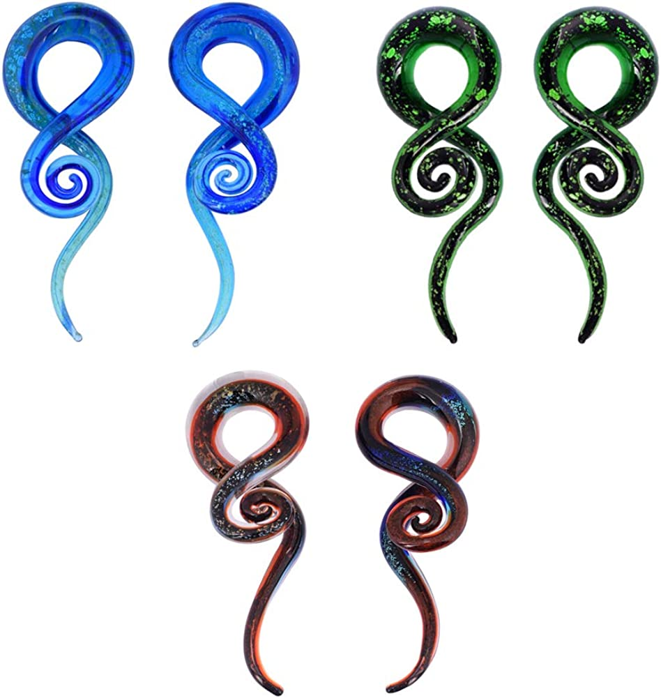 YOFANST Ear Stretching Glass Spiral Tapers Gauges 4g-9/16 Blue, Glow in The Dark, Purple, Green, Red