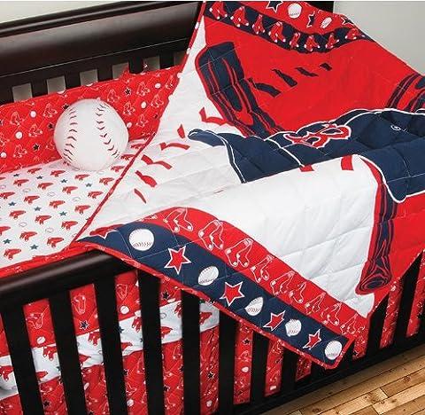 MLB Boston Red Sox Baseball 4 Piece Crib Bedding Set - Sox Metal
