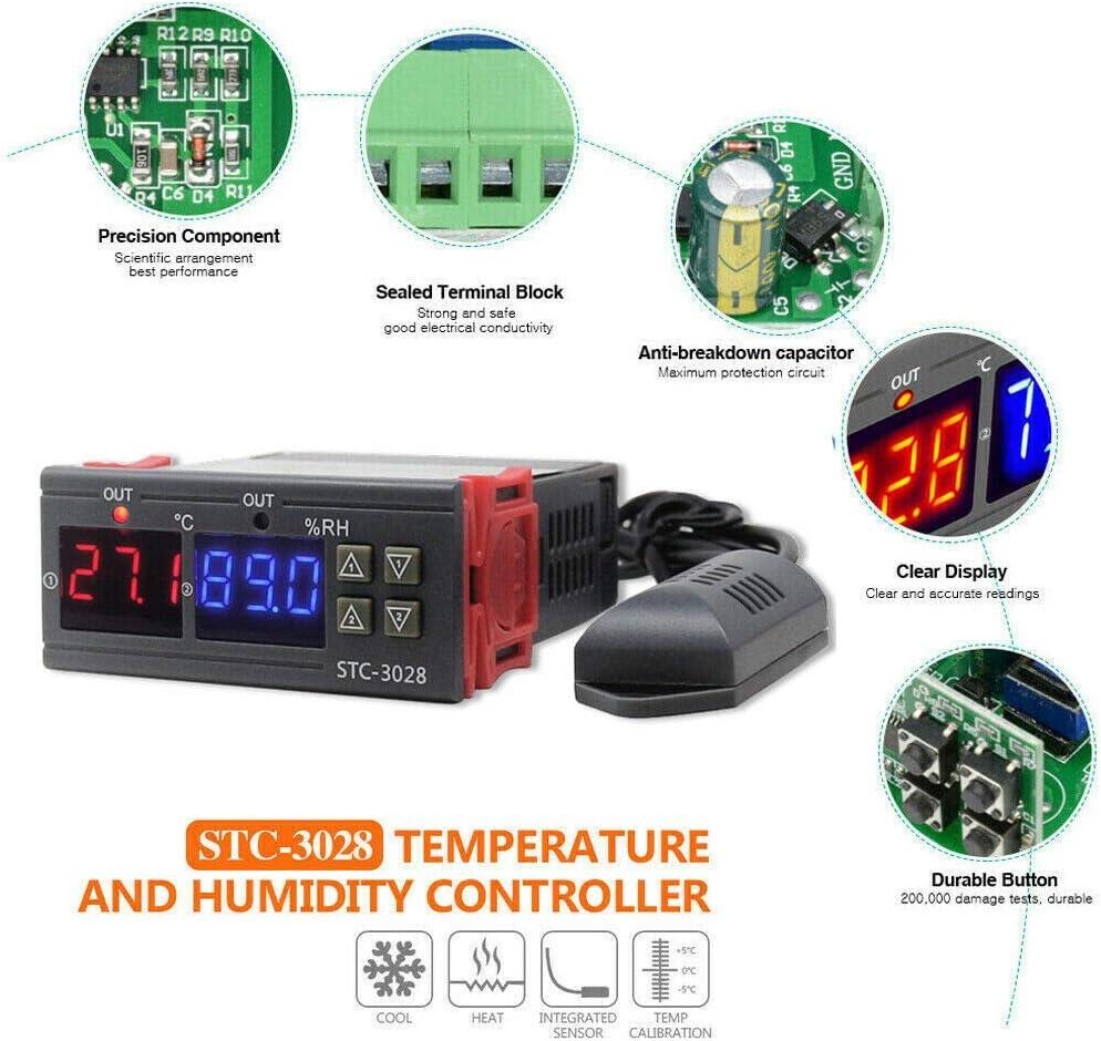 Tamkyo STC-3028 Medidor Digital de Temperatura y Humedad Termostato 10A Controlador Higr/óMetro de Pantalla Doble 24V