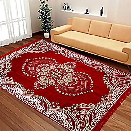 Laying Style Velvet Touch Abstract Chenille Carpet - 84 x 60, Red