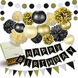 31 Pcs of Black Gold and Cream Birthday Party Decoration Set Pompom Lanterns Polka Dot Triangle Garland Banner (Black)