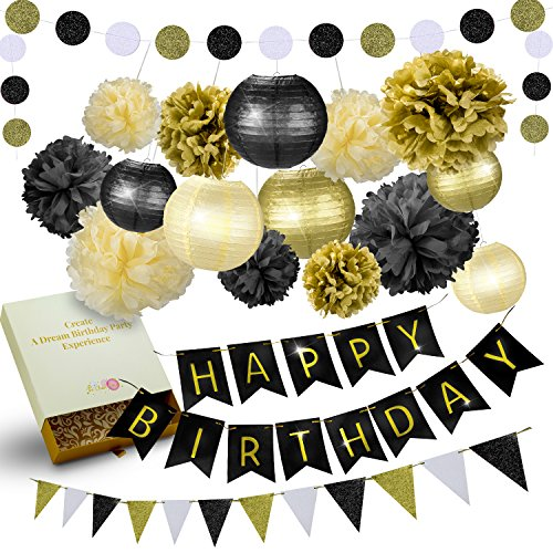 31 Pcs of Black Gold and Cream Birthday and New Years Eve Party Decoration Set Pompom Lanterns Polka Dot Triangle Garland Banner (Black)
