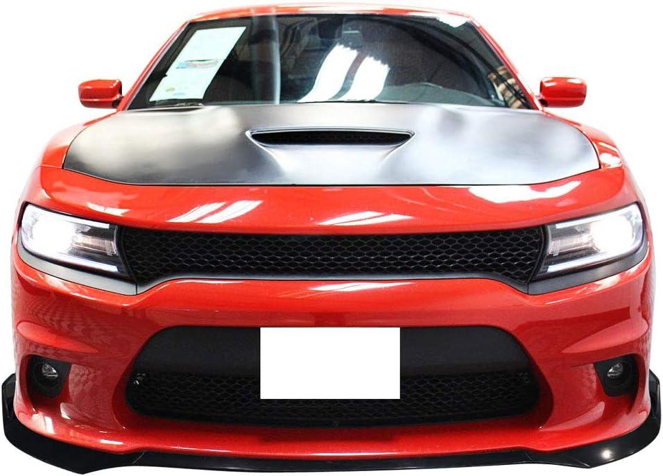 Free-Motor802 Compatible with 2015-2020 Dodge Charger SRT Front Bumper Lip Unpainted Black Polypropylene 3PC Spoiler Guard Splitter Valance Chin