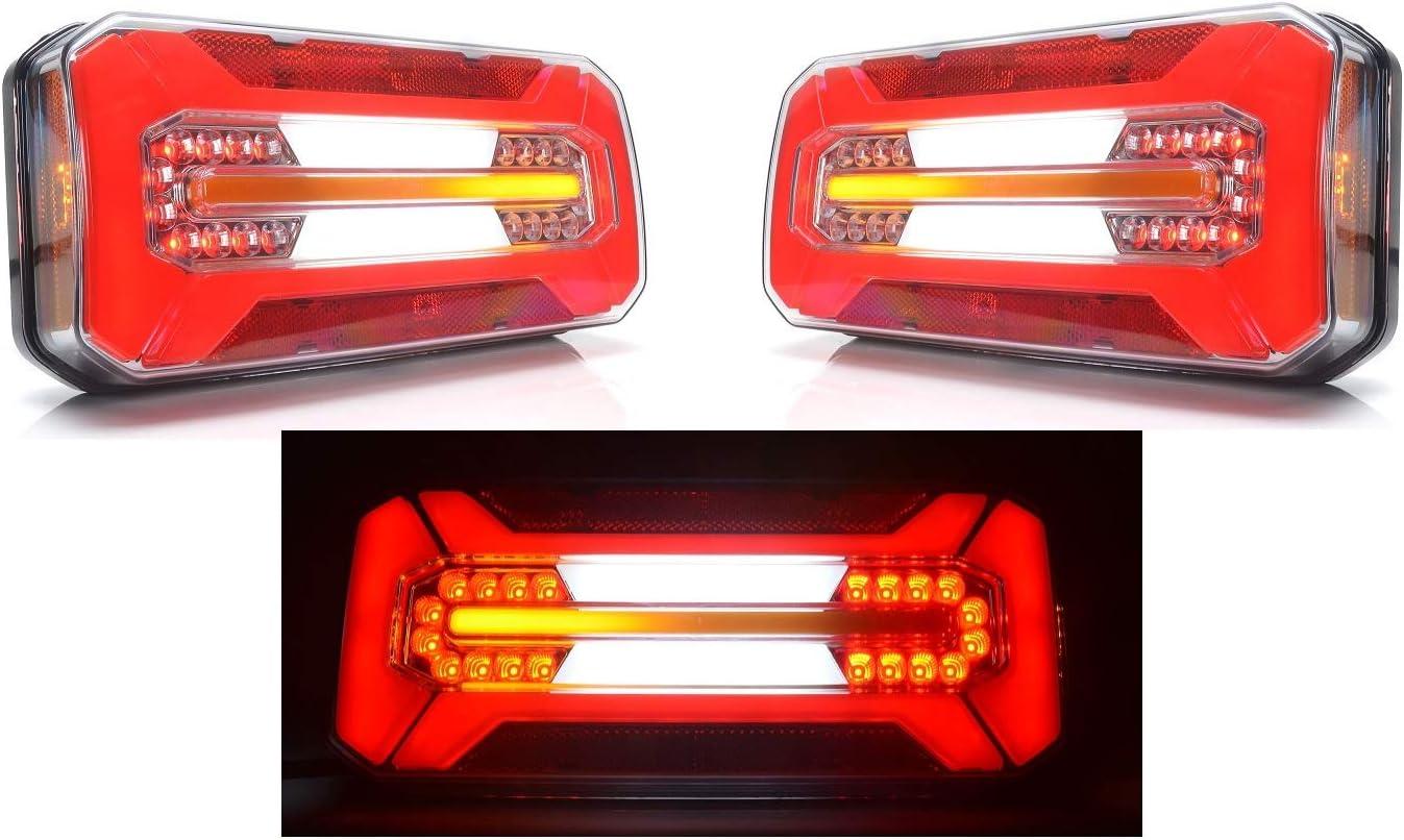2/x N/éon LED Feu arri/ère de combinaison Multi Functional lumi/ères 12/V 24/V avec dynamique des indicateurs de direction Marquage E ch/âssis de camion remorque Bus Camper Van