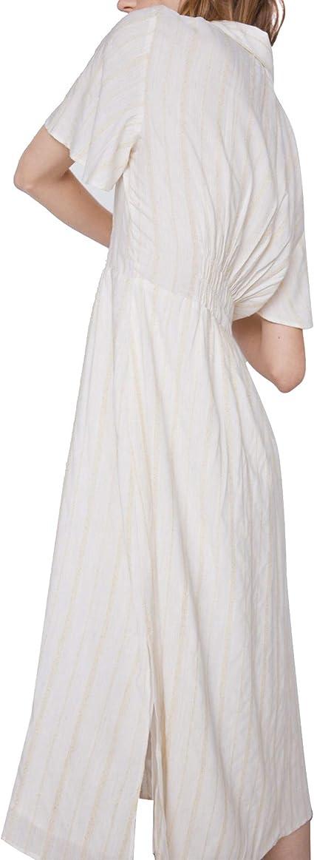Zara 0387/155 Vestido rústico a Rayas para Mujer - Marfil ...
