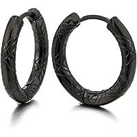 Stainless Steel Black Grooved Circle Huggie Hinged Hoop Earrings for Men Women, 2pcs