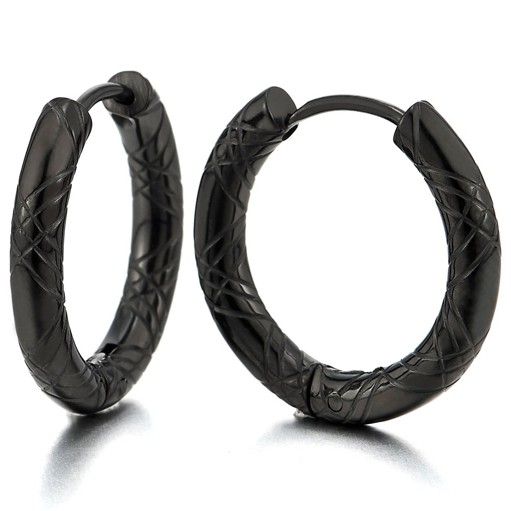 Stainless Steel Black Grooved Circle Huggie Hinged Hoop Earrings for Men Women, 2pcs 2pcs(12MM) COOLSTEELANDBEYOND ME-922-12-CA
