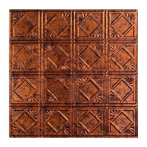 Fasade Easy Installation Traditional 4 Moonstone Copper Lay In Ceiling Tile / Ceiling Panel (2' x 2' Tile)