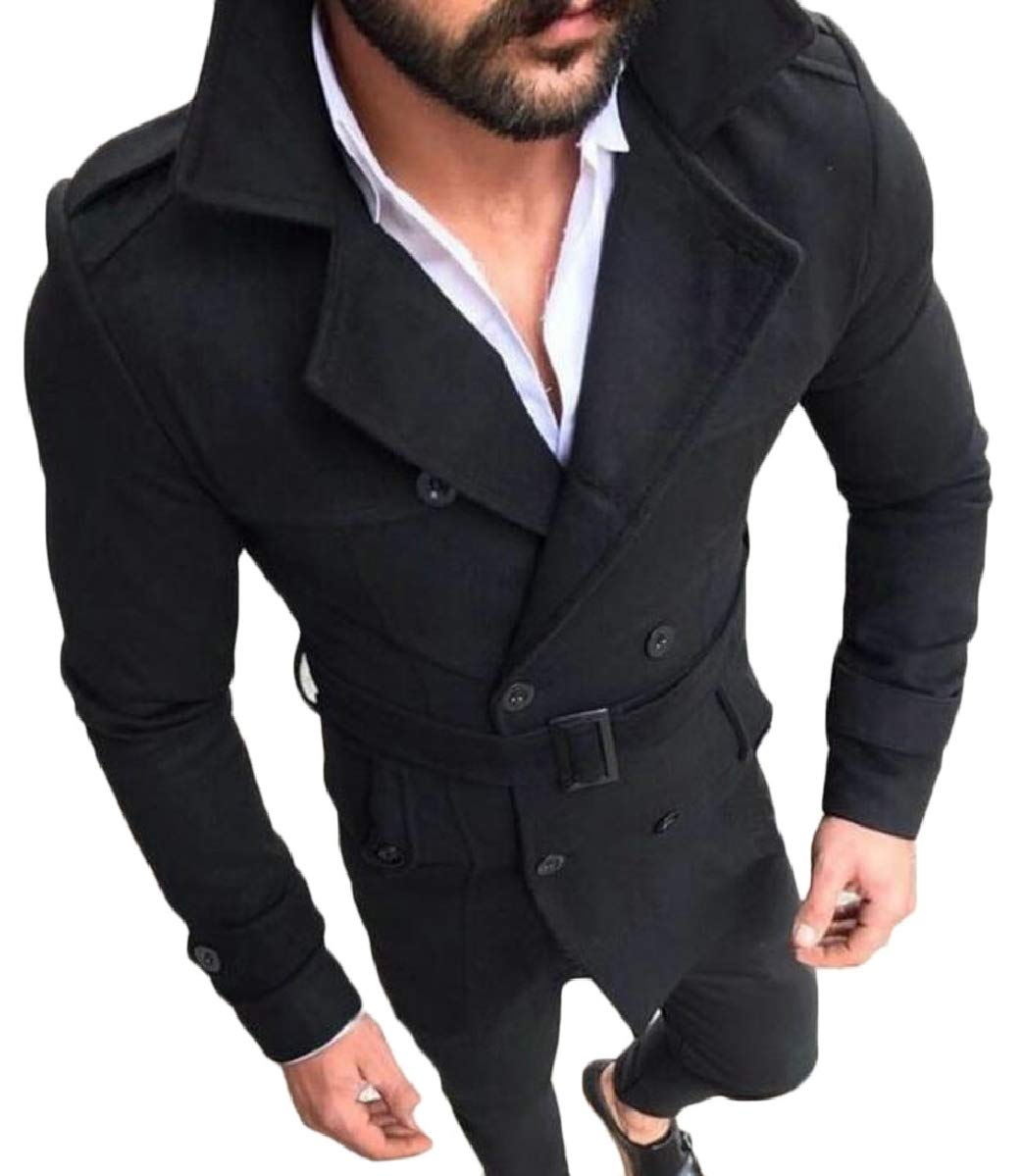 ZXFHZS Mens Double Breasted Classic Faux Suede Slim Fit Trench Coat Black XS