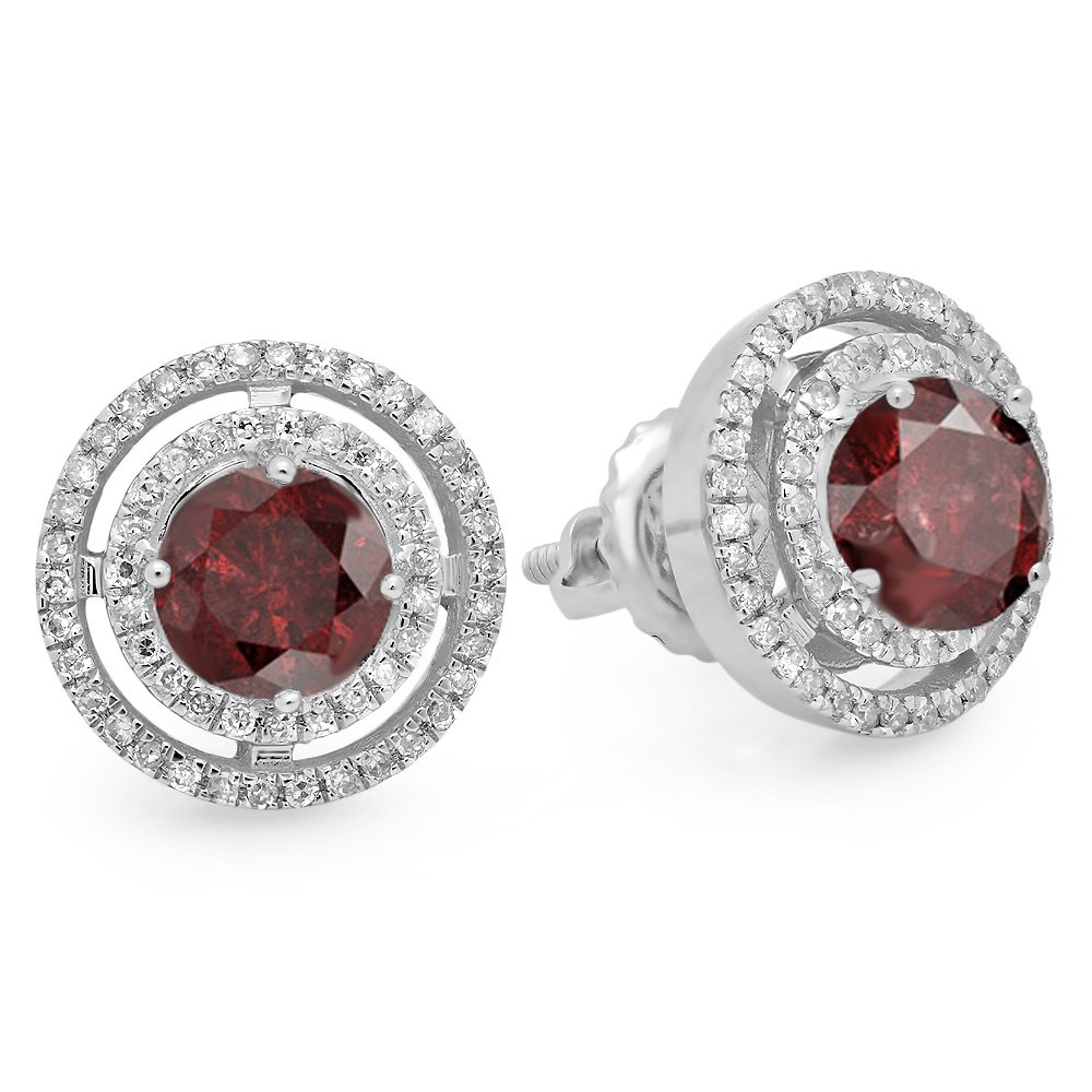 14K White Gold Round Garnet & White Diamond Ladies Halo Style Stud Earrings
