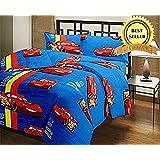 TRUSTFUL McQueen Car Cartoon Kids Design Print Single Bed Reversible AC Blanket | Dohar | Quilt | Comforter | Duvet (Polycotton, Multicolor)