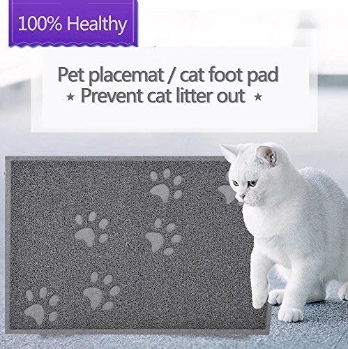 GOGOKING Cat Mat PVC Litter Mat Dog Feeding Mat Pet Foot Pad Waterproof Pet Food Mat Cushion For Pet (gray 1)