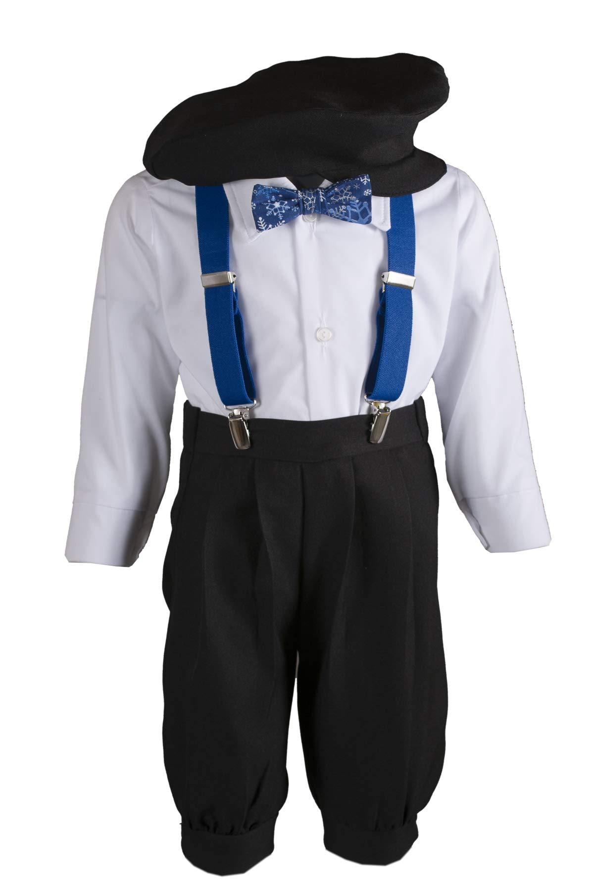 Boys Black Knickers Pageboy Cap with Royal Blue Suspenders & Snowflake Bow Tie (6B) by Tuxgear (Image #1)