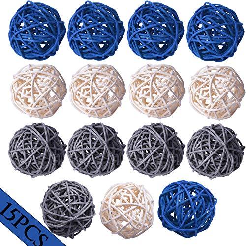 Wicker Rattan Balls Decorative Orbs Vase Fillers for Craft Project, 15pcs 2