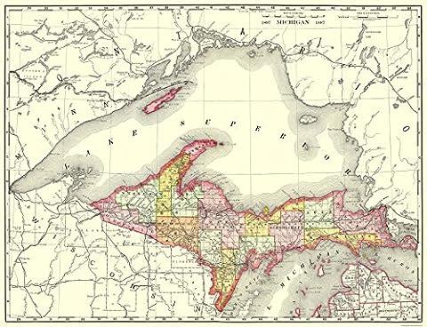 Old State Maps - MICHIGAN UPPER PENINSULA (MI) STATE MAP BY MCNALLY 1897 - Glossy Satin Paper - Michigan Antique Map