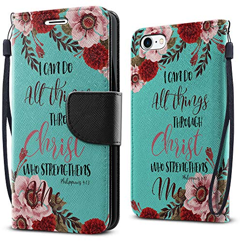 FINCIBO Case Compatible with Apple iPhone 7/8, Fashionable Flap Wallet Cover Case Card Holder Stand for iPhone 7/8 (NOT FIT 7 Plus, 8 Plus) - Christian Bible Verses Philippians 4:13