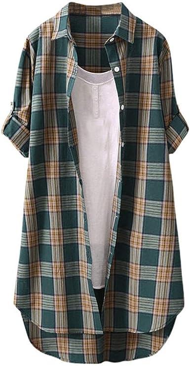 Sinwasd Vestido de Camisa a Cuadros para Mujer, Talla Grande ...
