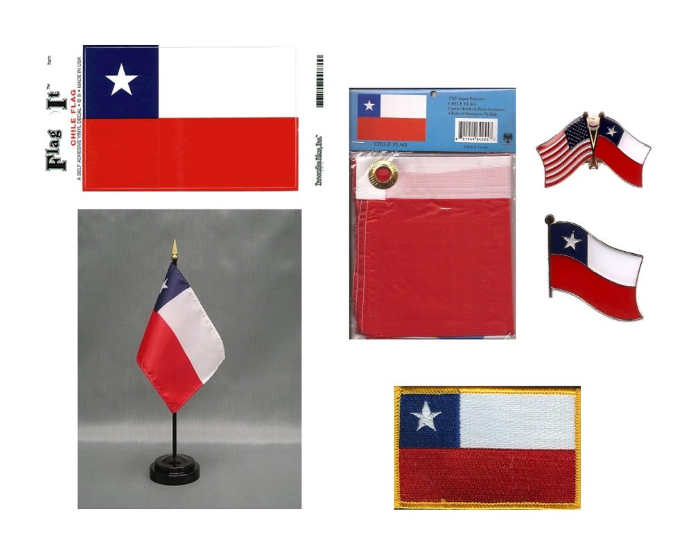 Chile Heritage Flag Pack - Includes a Chilean 3x5' Flag, Vinyl Flag Decal, One Single & One Double Friendship Flag Lapel Pin, Miniature Desk Flag With Stand & One Iron-On Flag Patch