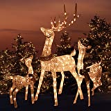 Outdoor Platinum Shimmer LIGHTED REINDEER FAMILY SET with Buck Deer, Doe and Baby Fawn, Santa's Reindeer Holiday Lawn Sculpture Lighted Yard Ornament Decoration
