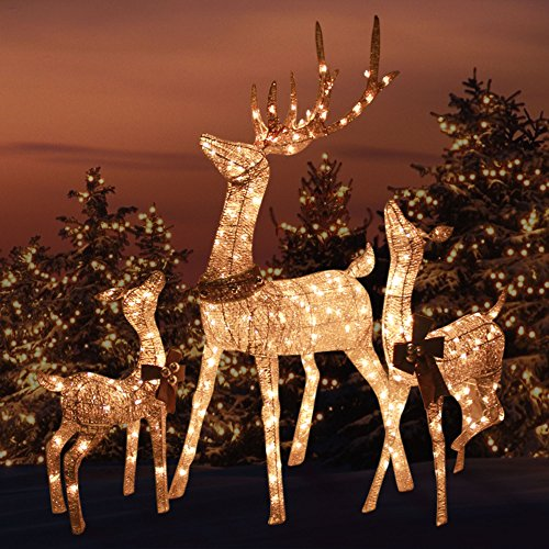 Morning Star Market Outdoor Platinum Shimmer Lighted Reindeer Family Set with Buck Deer, Doe and Baby Fawn, Santa