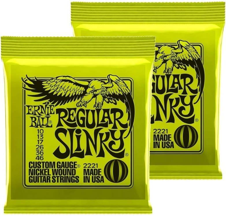 Regular Slinky Nickel Wound 10-46 2 Pack Ernie Ball Electric Guitar Strings