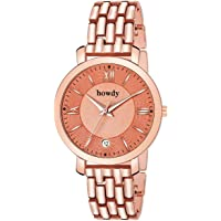 howdy Analogue Rose Gold Dial Stainless Steel and Date Women's Watch