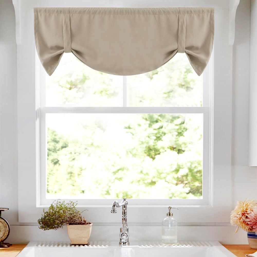 Tie Up Shade for Small Window Blackout Curtain Tie-up Valance for Kitchen Windows Adjustable Window Valance Balloon Blind, Rod Pocket, 20''L - Taupe