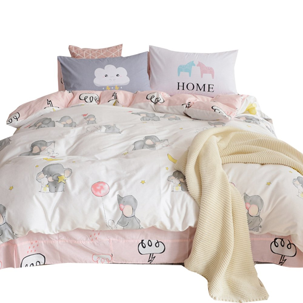OTOB New Cartoon Animals Elephant Print Duvet Cover Set for Kids Girls 100% Cotton Reversible Soft 3 Pieces Kids Girls Bedding Duvet Cover Set Pillowcases Twin Pink