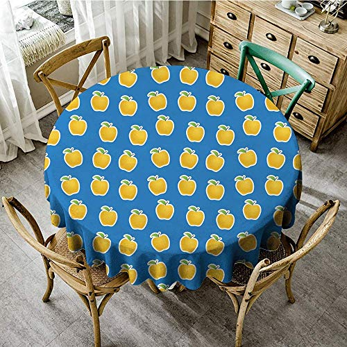 DONEECKL Round Tablecloth Apple Yellow Clipart Apples on Blue Background Delicious Vegetarian Food Vitamins and Durable D55 Blue Green Yellow -