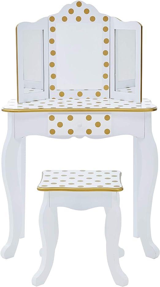 T: 59.70x29.20x97.80 S: 27.30x25.40x36.80 Teamson Kids- Gisele Toletta per Bambini TD-11670M Colore White /& Gold