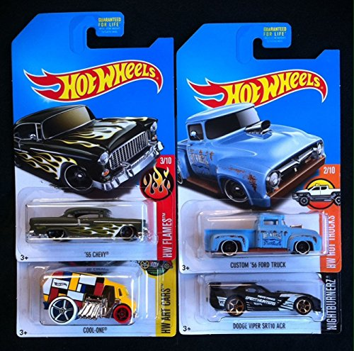 2017-hot-wheels-kmart-exclusive-complete-set-of-4-55-chevy-green-cool-one-yellow-custom-56-ford-truc