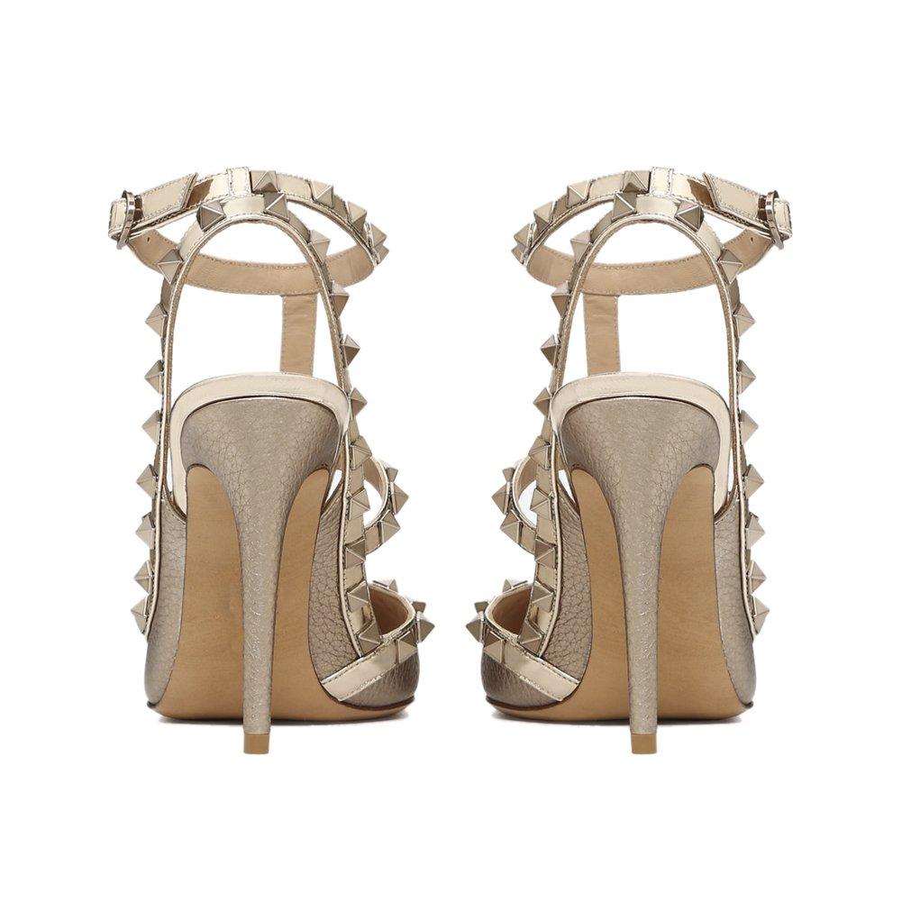 Caitlin Pan Damen Ankle High Heel Spitz Toe Ankle Damen Straps Studs Stiletto Formale Partei Kleid Sandalen Besetzt Court Schuhe 35-45 EU Gold Pattern/Gold Strap cc3ccf