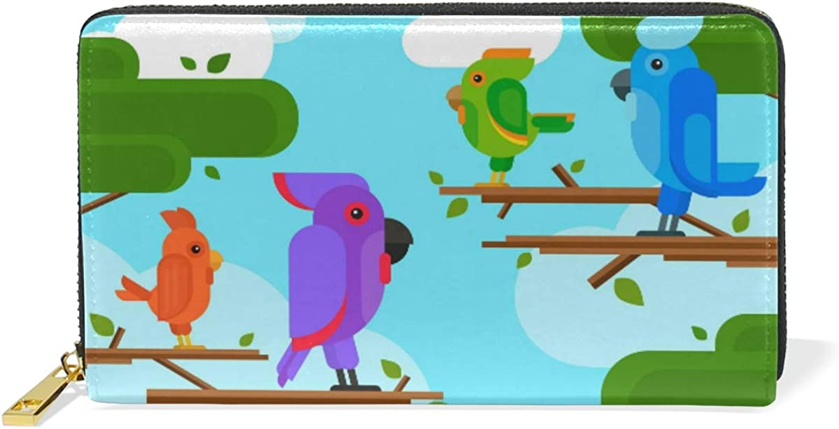 Women Colorful Parrot Green Wallet Real Leather Purse for Phone Girl Men