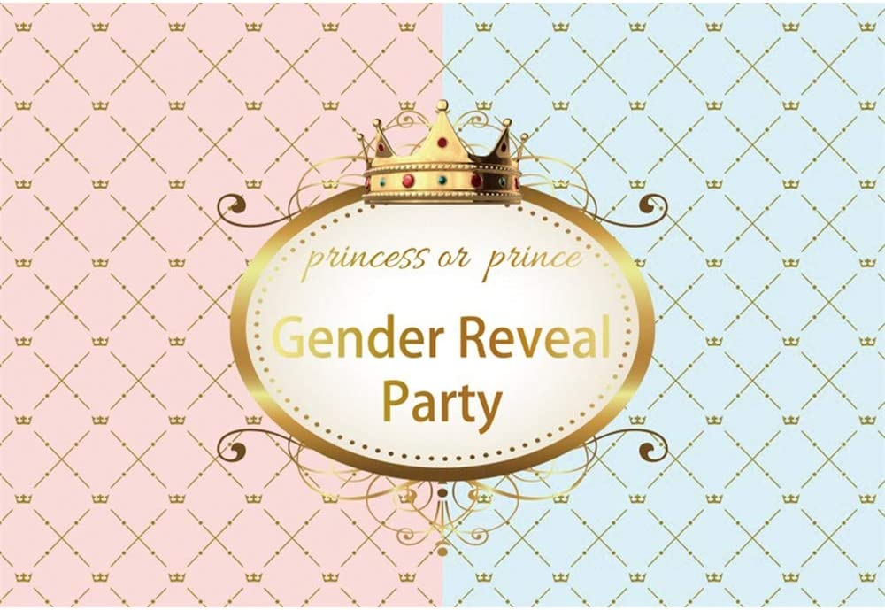 YongFoto 10x8ft Gender Reveal Party Backdrop Pink and Blue Gold Crown Photography Background Prince or Princess Baby Shower Party Banner Cake Table Decor Boys Girls Portrait Studio Props Wallpaper