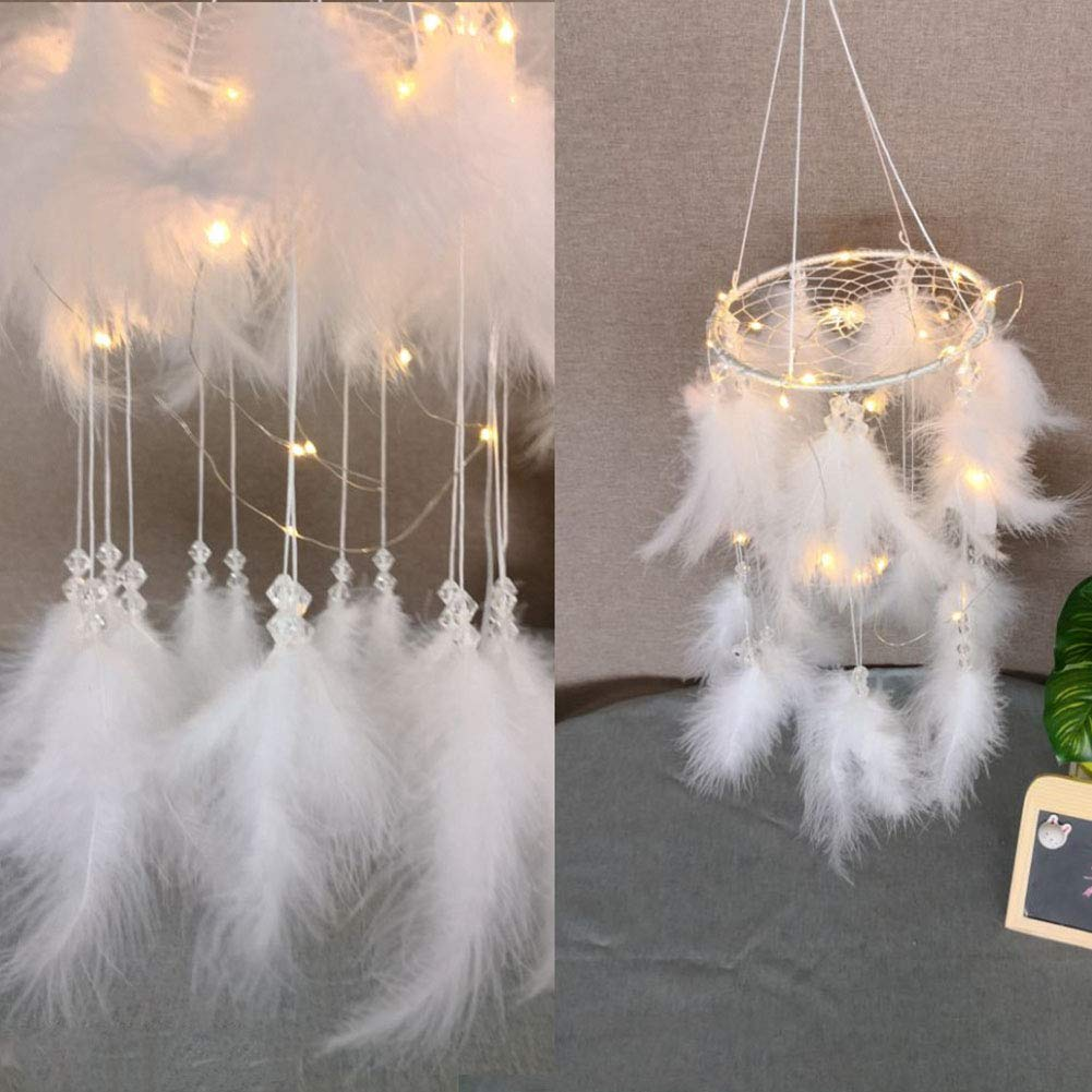 HOMOM Large Dream Catchers for Bedroom - Handmade Dreamcatcher with Feathers LED Lights Wall Hanging Decor Wedding Gift