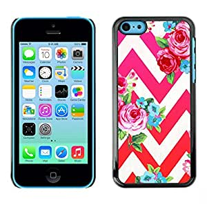 Plastic Shell Protective Case Cover || Apple iPhone 5C || Red Pink Floral Pattern Chevron @XPTECH
