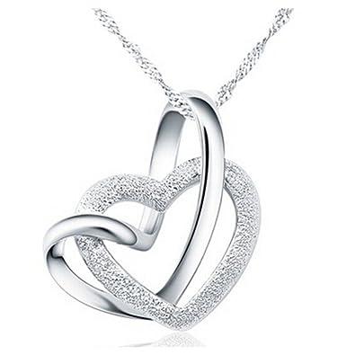 f55fd267b98d Yearol Collar colgante de plata para mujer con corazones. Original caja de  regalo. Especial San Valentin