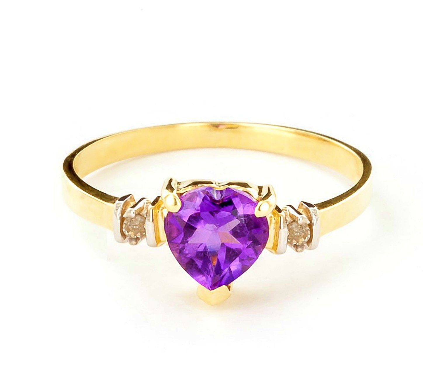 14k Yellow Gold Ring with Genuine Diamonds and Natural Heart-shaped Purple Amethyst - Size 8.0