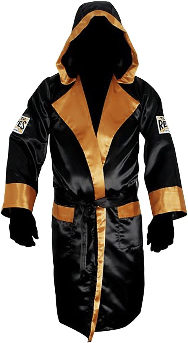 Cleto Reyesサテンボクシングローブwith Hood – ブラック/ゴールド  Large