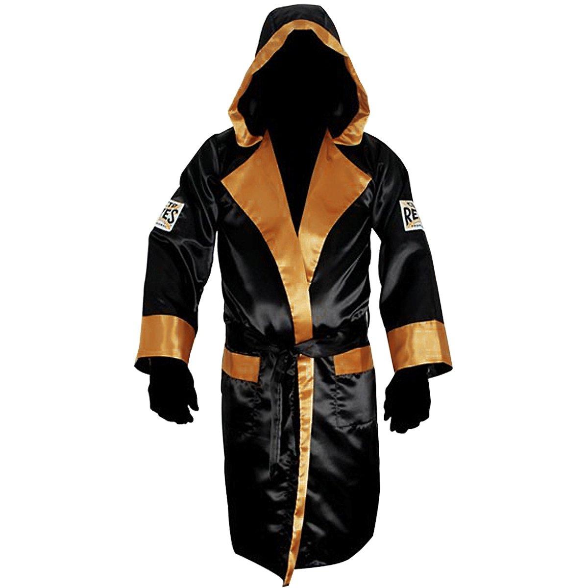 Cleto Reyesサテンボクシングローブwith Hood – ブラック/ゴールド B01BKO5W98  Large