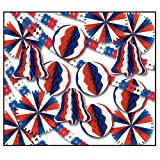 26-Piece Red, White and Blue Fans, Bells, Balls, and Garland Patriotic Decoration Kit