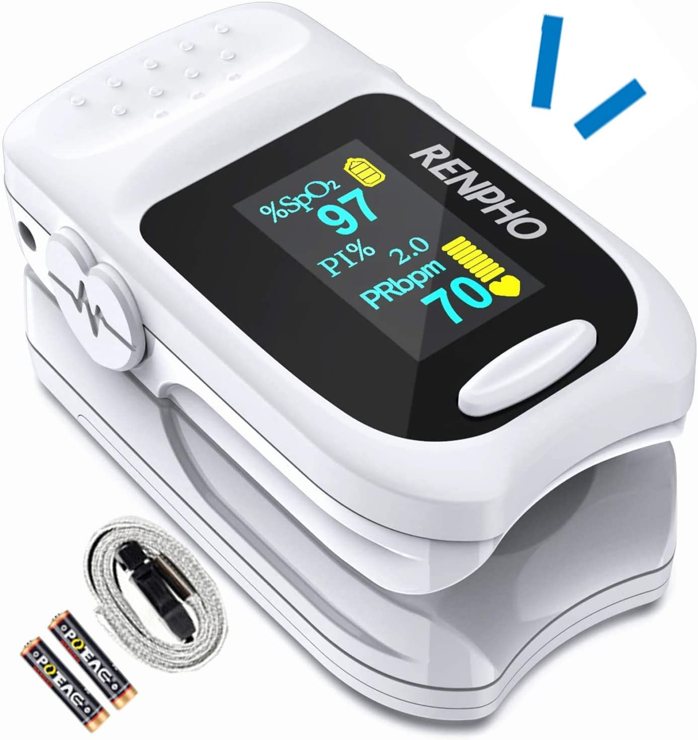 Oxímetro de Pulso, Monitor de Saturación de Oxígeno en Sangre RENPHO para Índice de Perfusión Spo2 y Frecuencia de Pulso con Pantalla Digital OLED, Monitor Portátil de Frecuencia Cardíaca de Dedo