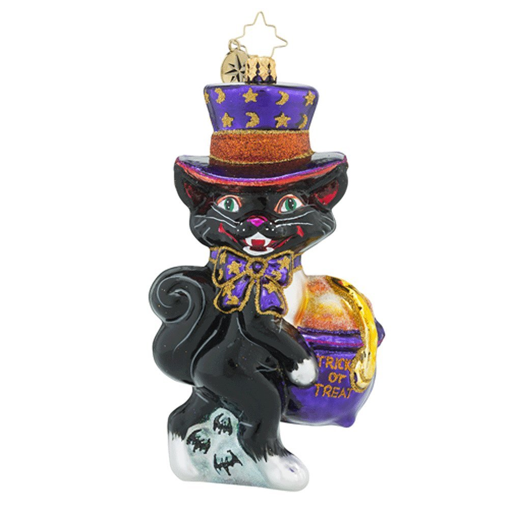 RADKO Midnight Treats Black Cat Halloween Glass Ornament