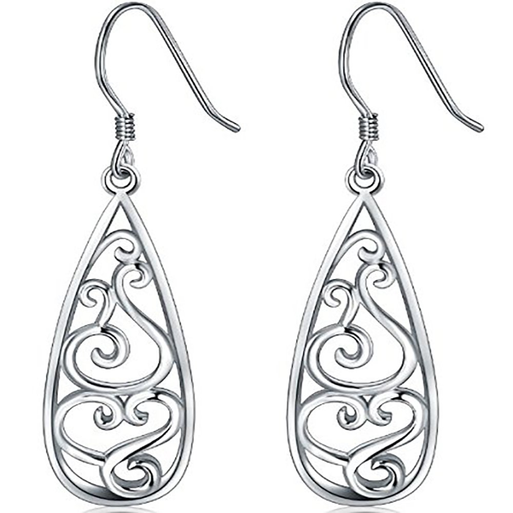 925 Sterling Silver Earrings, BoRuo Filigree Teardrop Earrings BRC Creative Corp. US_B0748FGC72