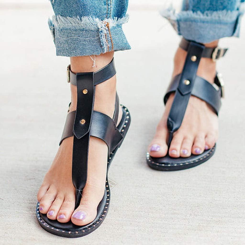 Women Summer Bohemian Open Toe Snake Pattern Adjustable Double Buckle Roman Sandals Flats